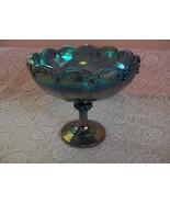 Vintage Indiana Carnival Glass Compote Fruit Bowl Blue Garland Teardrop ... - $44.55