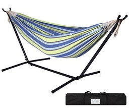 Portable Blue Green Stripe Cotton Hammock with Metal Stand Carry Case - $170.99
