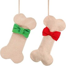 Boao 2 Pieces Christmas Hanging Stocking Bone Shape Stocking Gift Bags with - $17.75