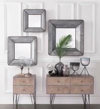 SET OF THREE NEW ANTIQUED FINISH INDUSTRIAL RIVET STYLE WALL VANITY MIRRORS - $375.00
