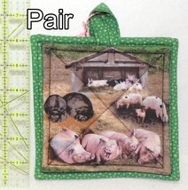 Pot Holders - Pair - Muddy Pink & Brown Farm Pigs Hogs - PHDR - $8.00