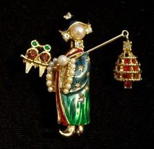 RARE Vintage CINER Dimensional Asian Lady Bird Vendor Brooch Crystal Rhi... - $390.43