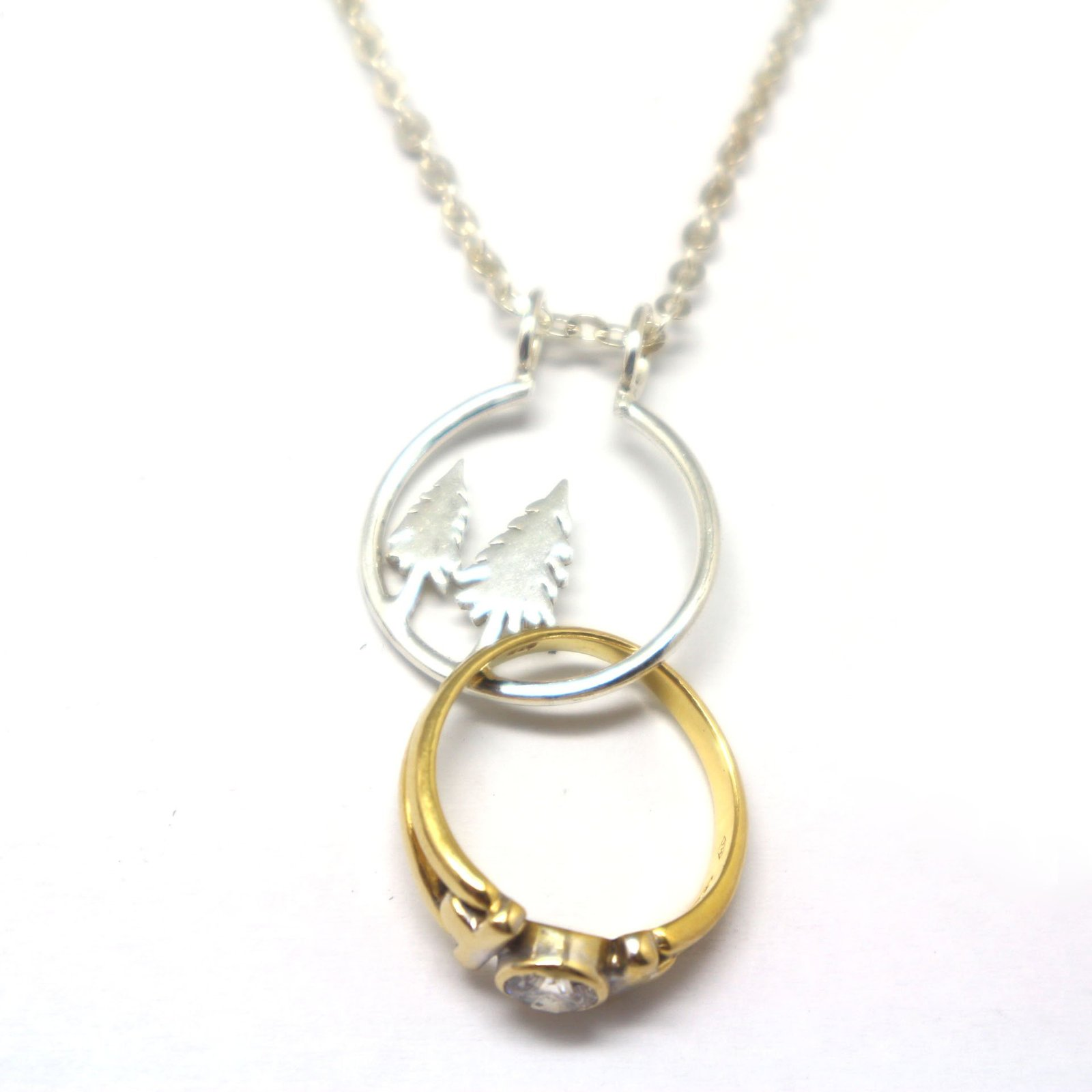 Silver Pine Tree Ring Holder Necklace image 3