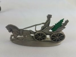 Hallmark Lot of 3 Pewter Steam Fire Engine U.S. Mail Wagon Open Topped Surrey image 3