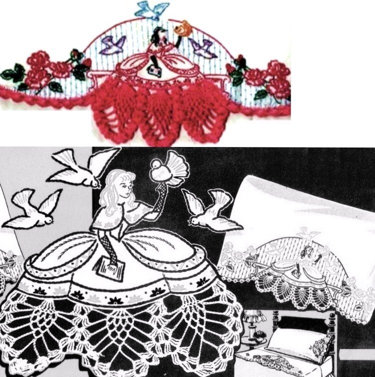 Primary image for Southern Belle pillowcase crochet & embroidered Su131