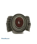 Premier Designs Red Cabochon Silver Cuff Bracelet antiqued silver tone chunky - $20.57