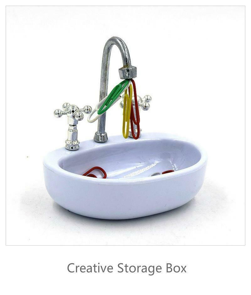Sink Shape Storage Box Plastic Case for Paper Magnetic Clip Cosmetic Accessorie