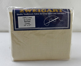 "Zweigart Belfast 32 Count Cream Linen Cross Stitch Aida Fabric - 18"" x 27"" - $18.95"