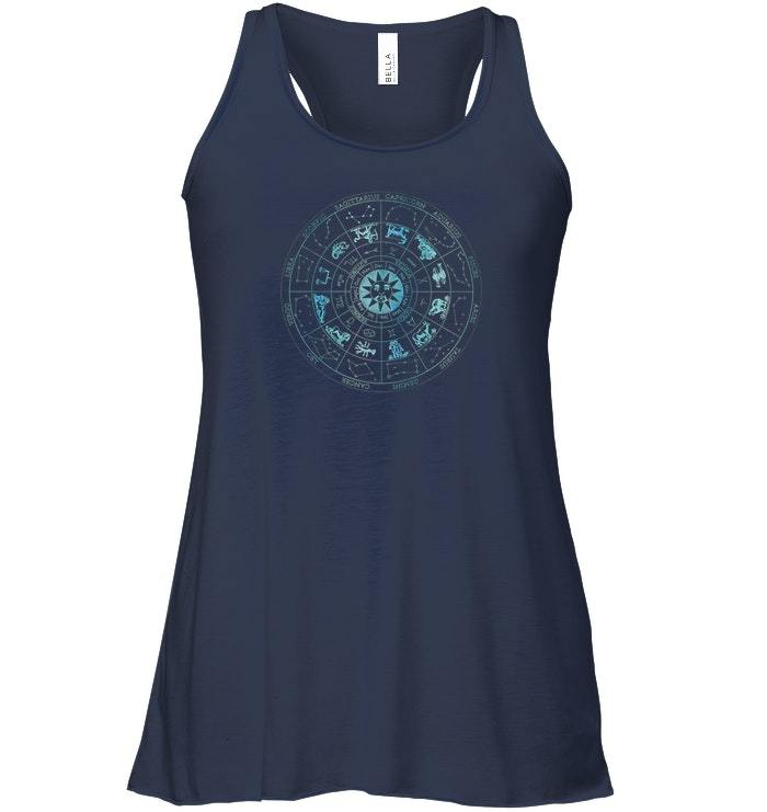 Vintage Zodiac Signs Illustration Astronomy Stars Flowy Racerback Tanks image 2