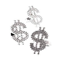 US Toy Dozen Metallic Look Plastic Dollar Sign Bling Rings Costume - $6.58