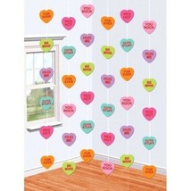 Valentines Day Candy Hearts 6 7 ft Doorway String Decoration Paper - $6.99