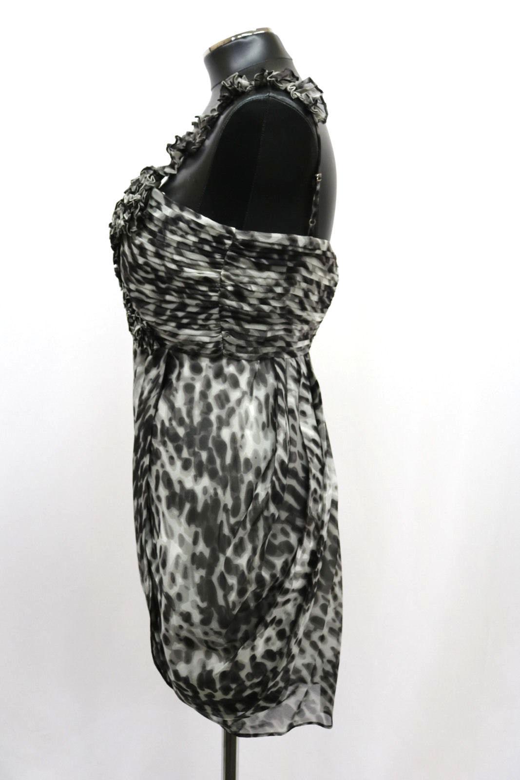 BCBG MAX AZRIA Dress One Shoulder Silk Rosette Chiffon Black combo Size 4 MyAFC