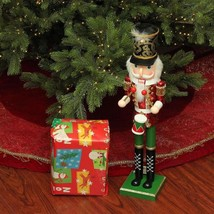 Wooden Nutcracker Drummer Sturdy 24 in Red Green Gold Christmas Decorati... - $55.40