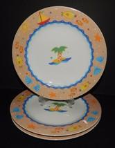 3 Studio Nova Mikasa Fine China Soft Seas Salad Plates Y0270 Jenny Faw Palm Tree - $29.69