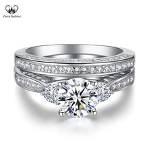 Women's Engagement Bridal Ring Set In Round Cut CZ White Gold Plated 925 Silver - $86.99