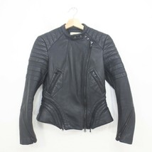 0 - 3.1 Phillip Lim Black Leather Asymmetrical Zip Front Biker Jacket 03... - $150.00