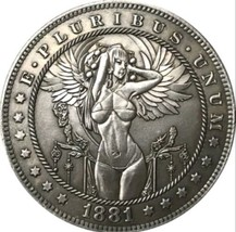 New Hobo Nickel 1881 Sexy Angel Woman Flying Goddess Morgan Dollar Caste... - $11.99