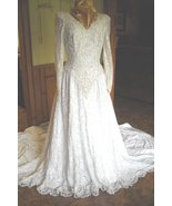 Vintage Wedding Dress By Sweerheart Gowns Satin & Lace Gold Sequins Pear... - $250.00