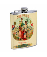 Vintage Cigar Box Poster D14 Flask 8oz Stainless Steel Hip Drinking Whiskey - $13.81
