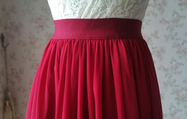 DARK RED Chiffon Maxi Skirt Women Full Maxi Chiffon Skirt Dark Red Wedding Skirt image 5
