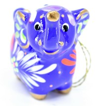 Handcrafted Painted Ceramic Blue Elephant Confetti Ornament Made in Peru image 2