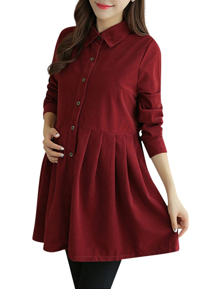 Maternity Dress Solid Color Long Sleeve Shirt Dress