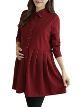 Maternity Dress Solid Color Long Sleeve Shirt Dress - $32.99