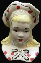 "Girl Head Vase Wall Pocket Pottery Vintage Ceramic 7.5"" Bonnet Southern ... - $12.86"