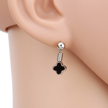 UE- Petite Silver Tone Designer Clover Earrings With Jet Black Faux Onyx Inlay - $13.99