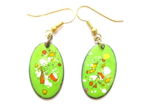 Artisan Lime Green,Red,Orange,Yellow Baked Enamel Oval Vintage Earrings*Y107