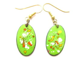 Artisan Lime Green,Red,Orange,Yellow Baked Enamel Oval Vintage Earrings*... - $17.82