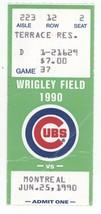 Montreal @ Chicago 6/25/90 Ticket Stub! Expos 7 Cubs 3 Nelson Santovenia HR - $4.99