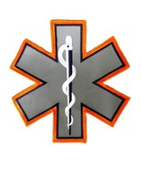 Reflective Star of Life Emblem Patch Medical EMT EMS 7 x 7 Orange Silver... - $23.25