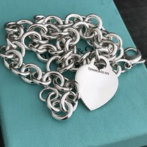 Tiffany & Co Sterling Silver Engravable Blank Heart Tag Necklace with Bl... - $310.00