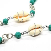 NECKLACE THE ALUMINIUM LONG 90 CM WITH SHELL AND CRYSTALS STRASS GREEN image 4
