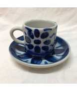 Porcelana Monte Siao Brazil Demitasse Cup 310 and Saucer Set White Blue ... - $17.81