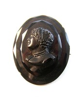 Victorian Black Glass Cameo of a Lady Brooch - $54.99