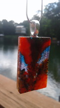 Dichroic Glass Pendant Fused Handmade Jewelry Unique Orange Blue USA MADE - $24.95