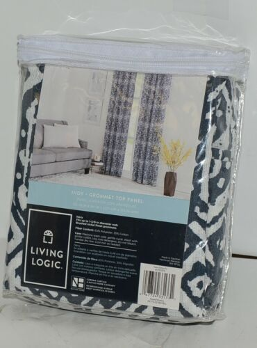 Living Logic Indy Brush Nickel Grommet Top Panel Navy White Color 50W x 84L