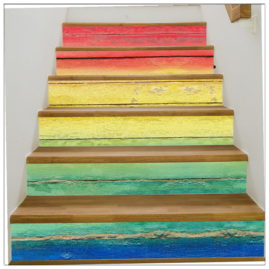 Primary image for DIY Steps Sticker Removable Stair Sticker Mural Rainbow wooden