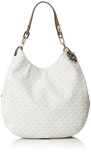 MICHAEL KORS Vanilla Signature Print Fulton Large Shoulder Hobo Tote Bag... - $236.41