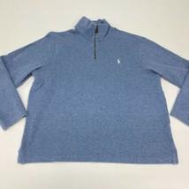 Polo Ralph Lauren Quarter Zip Jacket Men's XL Long Sleeve Blue Mock Neck Cotton - $24.95