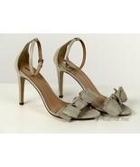 J Crew Women's Metallic Linen Bow High Heel Sandals Pumps 9 B7918 - $55.19