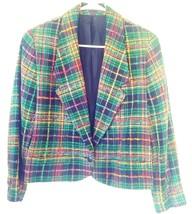 Doncaster Silks Women's Blazer 8 Plaid Boucle Yarn Metallic Thread Singl... - $25.93