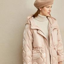 Women's European Brand Designer Thick Hooded Solid Quilted Down Winter Coat