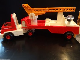 Fisher Price Vintage Firetruck Husky Helper Truck Trailer Made In USA 19... - $26.71