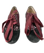 Andago Maroon Girls Black Burgandy Laced Shoes Size 30, Preowned, Good C... - $6.85