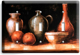 WESTERN COUNTRY RUSTIC POTTERY WINE JUG 3 GANG LIGHT SWITCH PLATES KITCH... - $17.99