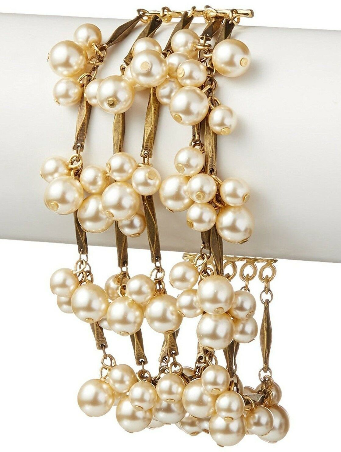 David Aubrey Hadrien USA Made Chain & Simulated Pearl Fringe Bracelet NWT