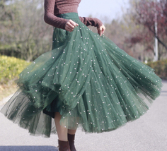 Dark Green Long Tulle Skirt Outfit Plus Size Bridesmaid Tulle Skirt, Pearl deco image 1